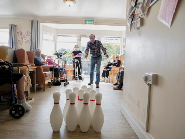 Roselands Residential Home residents playing bowling
